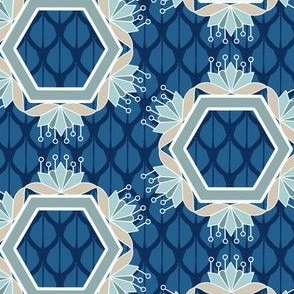 Lotus Blossom Hexagons in Blue and Aqua