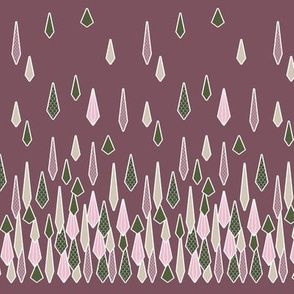 Rain Border Print in Deep Rose Pink and Olive Green