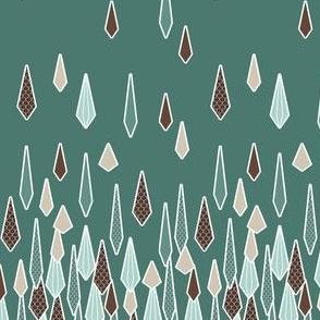 Rain Border Print in Chocolate and Mint