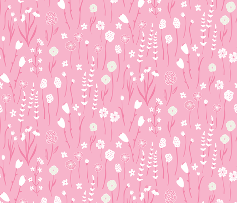 Spring Meadow - Floral Coordinate- Pink fabric by scarlette_soleil on Spoonflower - custom fabric