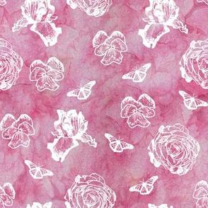 White Iris Pansy Ranunculus Over Pink