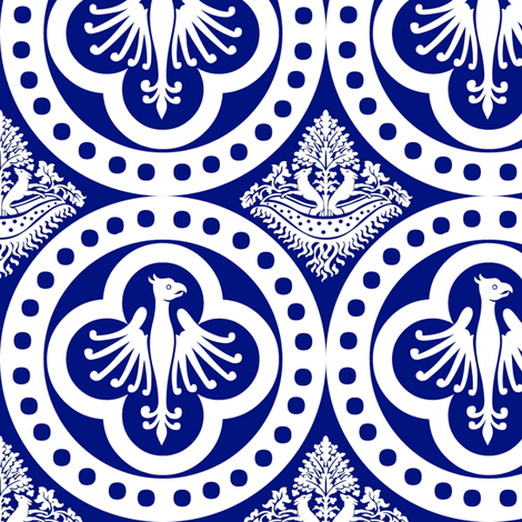 Authentic Design 004 - White on Blue fabric by swabish_designs on Spoonflower - custom fabric