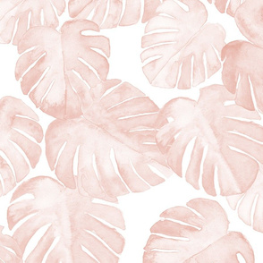 (jumbo scale) watercolor monstera leaf - dusty pink