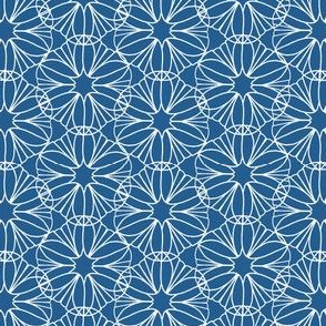 Blue and White Geometric Flower Print