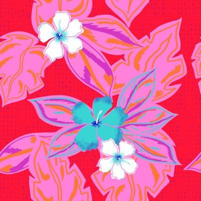 retro pinks and red floral