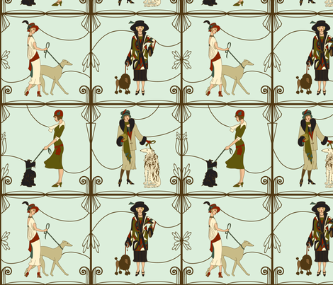 deco dames and dogs mint large scale fabric by margiecampbellsamuels on Spoonflower - custom fabric