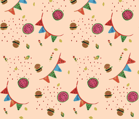 Fruit and burgers bbq peachy fabric by silksieve on Spoonflower - custom fabric