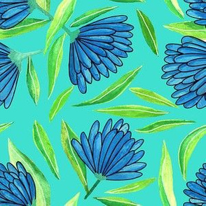 blue floral with turquoise background