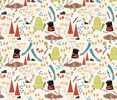 The Tortoise and the Hare fabric by ruth_robson on Spoonflower - custom fabric