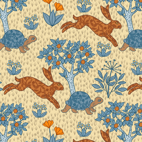 Tortoise and the Hare fabric by maritcooper on Spoonflower - custom fabric