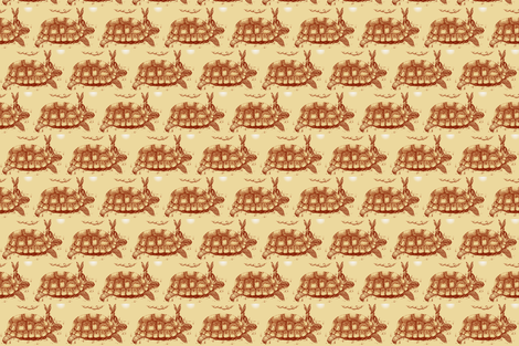 Hare_Tortoise2-Sepia fabric by cloudsong_art on Spoonflower - custom fabric