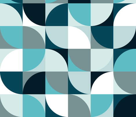 Retro Mono in blue fabric by delinda_graphic_studio on Spoonflower - custom fabric