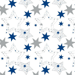 starlight dance, stars gray and blue on white