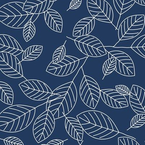 Kiss Summer Goodbye: Navy Blue Drifting Leaves