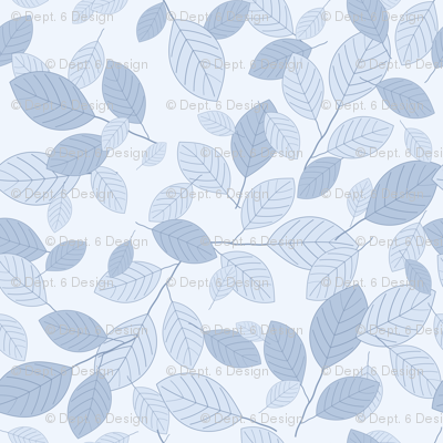 Kiss Summer Goodbye: Chambray Blue Drifting Leaves