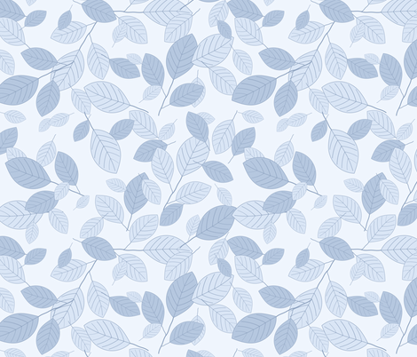 Kiss Summer Goodbye: Chambray Blue Drifting Leaves fabric by dept_6 on Spoonflower - custom fabric