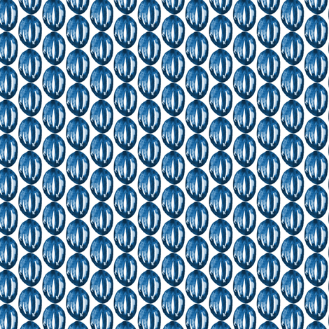 Watercolor Abstract Indigo Blue Navy || White Boho Flower Seed Pods modern watercolour _ Miss Chiff Designs  fabric by misschiffdesigns on Spoonflower - custom fabric