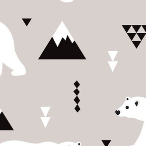 Cute polar bear winter mountain geometric triangle print XXL