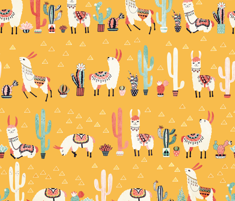 Happy llama with cactus in a pot fabric by lidiebug on Spoonflower - custom fabric