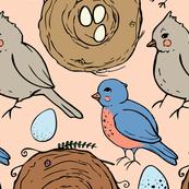 Spring songbirds (peach background)