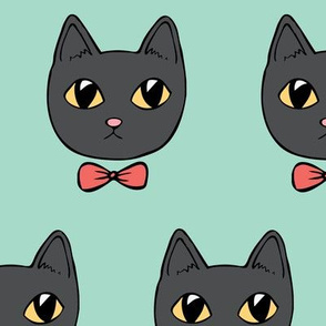 Dapper kitties (mint background)