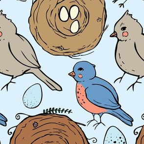 Spring songbirds (blue background)