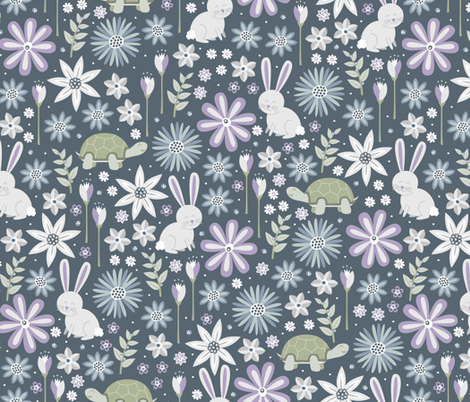 Spring Turtle and Hare fabric by robyriker on Spoonflower - custom fabric