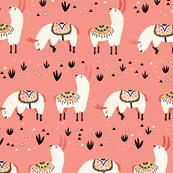 White Llamas in a pink desert
