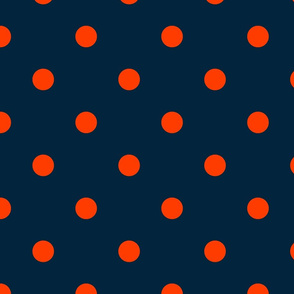 Navy and Neon Orange Jumbo Dots