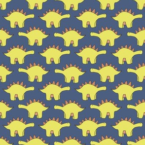 Stegosaurus / blue & yellow dinosaur design / kids toddlers cute dino pattern