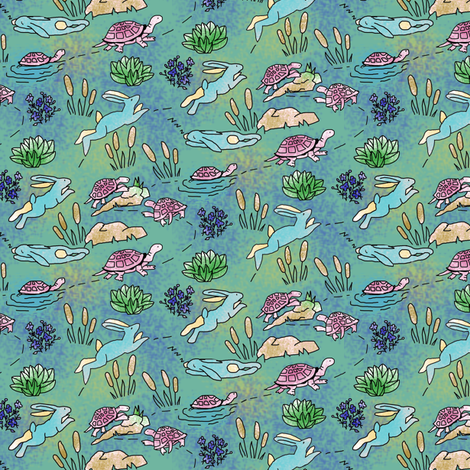 Tortoise and Hare Neverending Race fabric by eclectic_house on Spoonflower - custom fabric