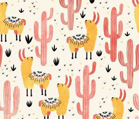 Yellow Llamas Red Cacti fabric by lidiebug on Spoonflower - custom fabric