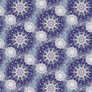 Large Mandala Floral in Violet and Purple by Amborela