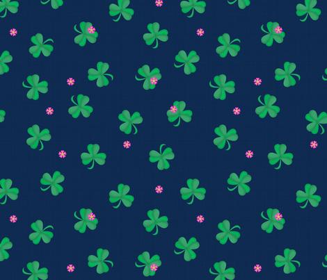 Sweet Flowering Shamrocks Navy fabric by bags29 on Spoonflower - custom fabric