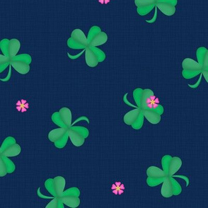 Sweet Flowering Shamrocks Navy