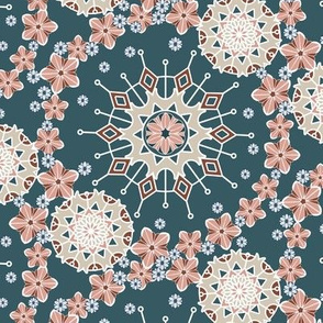 Large Mandala Floral in Desert Peach and Blue