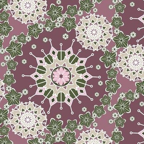 Large Mandala Floral in Olive Green and Rose Pink