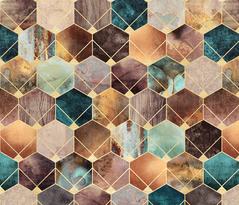 Natural Hexagons - Medium fabric by elisabeth_fredriksson on Spoonflower - custom fabric