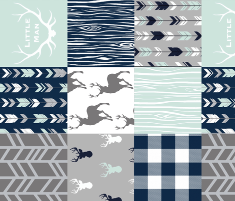 little Man Patchwork deer - white, mint, navy, grey - ROTATED fabric by sugarpinedesign on Spoonflower - custom fabric