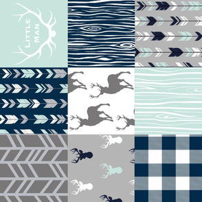 little Man Patchwork deer - white, mint, navy, grey - ROTATED