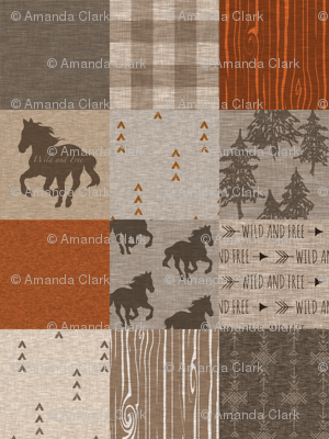 Wild Horses Patchwork - Rust, tan and brown