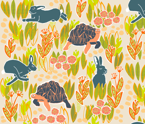 KHeck tortoise and hare fabric by kheckart on Spoonflower - custom fabric