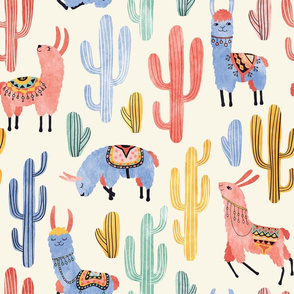 Colorful Llamas and Cacti