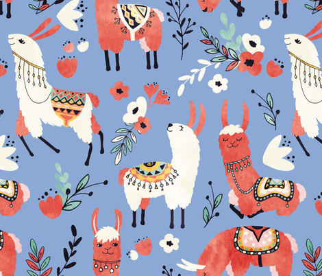 Llamas in a blue desert fabric by lidiebug on Spoonflower - custom fabric