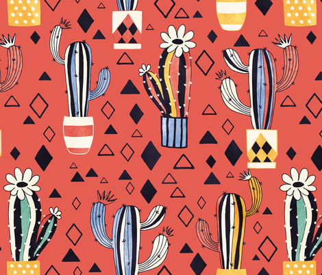 Cacti in a pot on red fabric by lidiebug on Spoonflower - custom fabric