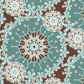 Large Mandala Floral in Mint and Chocolate by Amborela