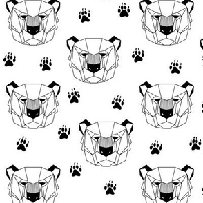 Geometric Bear Tracks (black + white) Geo Bears Woodland Animals Baby Nursery Bedding GingerLous