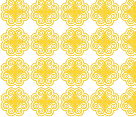 Hmong Flower Pattern Yellow Fabric Cltradingcompany Spoonflower Interesting Hmong Pattern