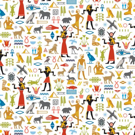 Walk Like an Egyptian* | Egypt symbols hieroglyphics ancient pyramids ankh leaves flora fauna animals flowers fabric by pennycandy on Spoonflower - custom fabric