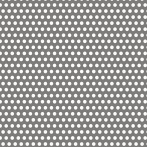 White Polka Dots on Gray
